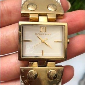 RARE! Michael Kors Leather Signature Vanilla Watch